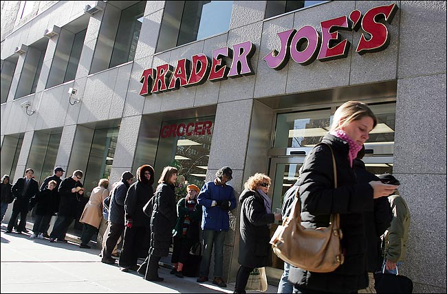 Line of people standing outside Trader Joe's